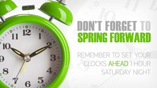 Daylight Saving Time Begins tomorrow at 2:00 AM Sunday- March 14, 2021